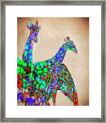 Colored Giraffes Framed Print by David Millenheft