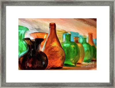 Colored Glass Bottles In The Window Framed Print