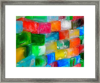 Colored Ice Bricks Framed Print