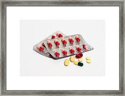Colored Medications Pills Framed Print
