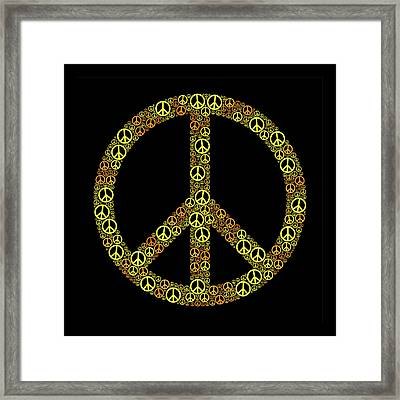 Colored Peace Sign Yellow Orangeorange Framed Print by Peter Hermes Furian