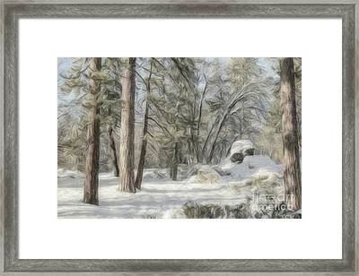 Colored Pencil Drawing Boulder Rocks, Climate Change At Souther Framed Print