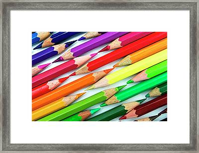 Colored Pencil Tips Framed Print by Image by Catherine MacBride