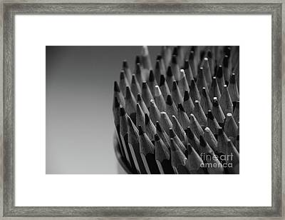 Colored Pencils - Black And White Framed Print
