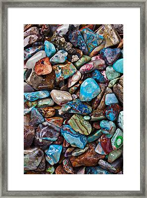 Colored Polished Stones Framed Print by Garry Gay