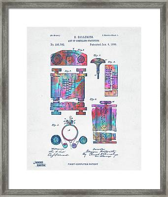 Colorful 1889 First Computer Patent Framed Print