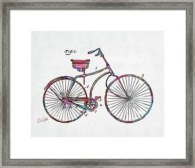 Colorful 1890 Bicycle Patent Minimal Framed Print