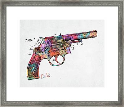 Colorful 1896 Wesson Revolver Patent Framed Print