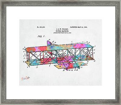 Colorful 1906 Wright Brothers Flying Machine Patent Framed Print