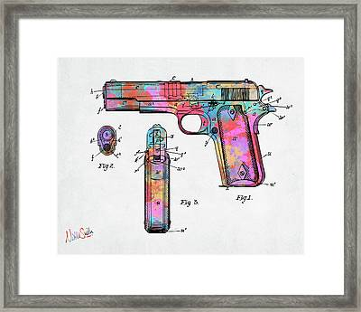 Colorful 1911 Colt 45 Browning Firearm Patent Artwork Minimal Framed Print