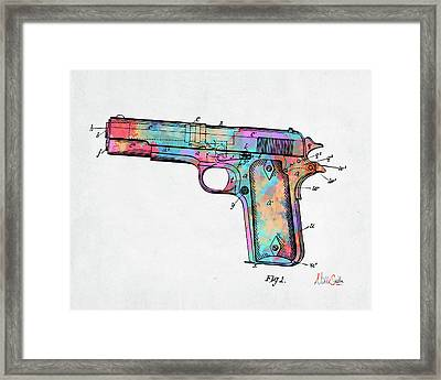 Colorful 1911 Colt 45 Browning Firearm Patent Minimal Framed Print