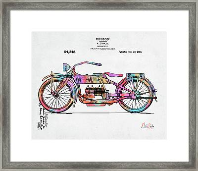 Colorful 1919 Harley-davidson Motorcycle Patent Framed Print