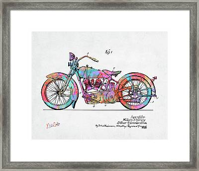 Colorful 1928 Harley Motorcycle Patent Artwork Framed Print