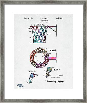 Colorful 1951 Basketball Net Patent Artwork Framed Print