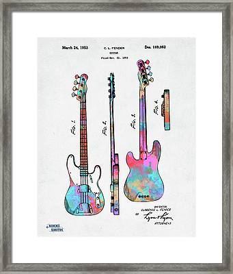 Colorful 1953 Fender Bass Guitar Patent Artwork Framed Print