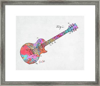Colorful 1955 Mccarty Gibson Les Paul Guitar Patent Artwork Mini Framed Print