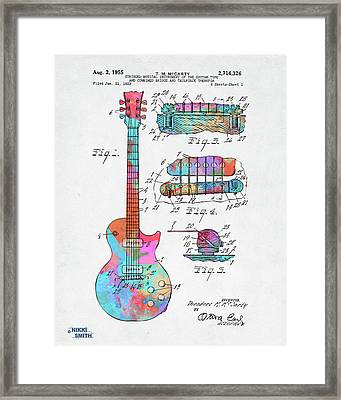 Colorful 1955 Mccarty Gibson Les Paul Guitar Patent Artwork Framed Print
