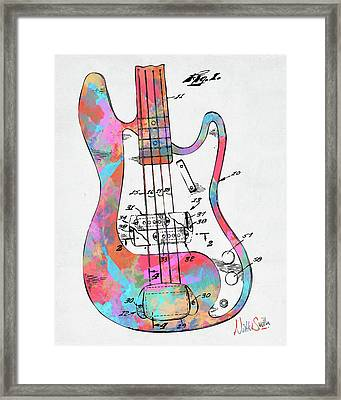 Colorful 1961 Fender Guitar Patent Framed Print