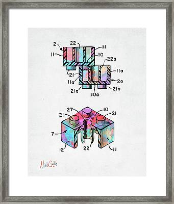 Colorful 1961 Lego Brick Patent Minimal Framed Print