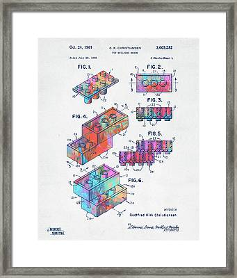 Colorful 1961 Toy Building Brick Patent Art Framed Print
