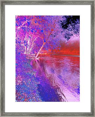 Colorful Abstract Art Of Flat Rock River Columbus Indiana Framed Print