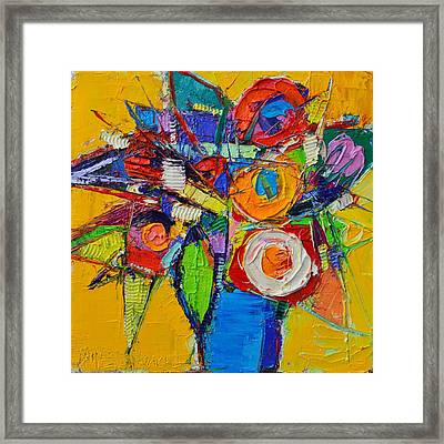 Colorful Abstract Floral Geometry Expressionism Impasto Knife Oil Painting  By Ana Maria Edulescu    Framed Print