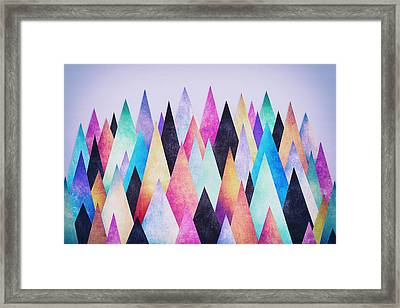 Colorful Abstract Geometric Triangle Peak Woods  Framed Print by Philipp Rietz