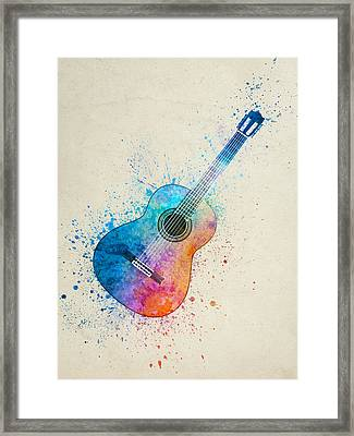 Colorful Acoustic Guitar 05 Framed Print by Aged Pixel