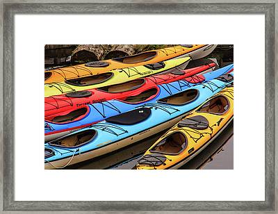 Colorful Alaska Kayaks Framed Print