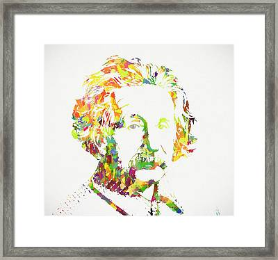 Colorful Albert Einstein Framed Print by Dan Sproul