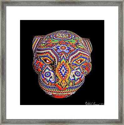 Colorful Ancient Mayan Jaguar Statue Head Framed Print by Nicholas Romano