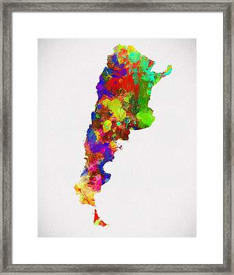Colorful Argentina Map Framed Print by Dan Sproul