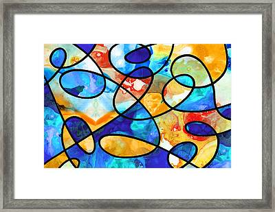 Colorful Art - Line Dance 1 - Sharon Cummings Framed Print by Sharon Cummings
