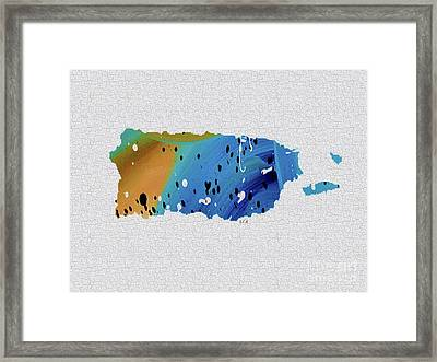 Colorful Art Puerto Rico Map Blue And Brown Framed Print by Saribelle Rodriguez