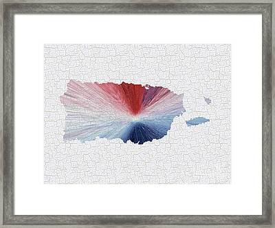 Colorful Art Puerto Rico Map Blue Red And White Framed Print by Saribelle Rodriguez