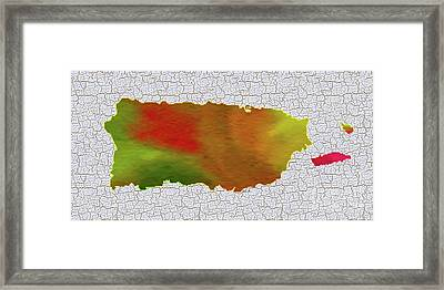 Colorful Art Puerto Rico Map Framed Print by Saribelle Rodriguez