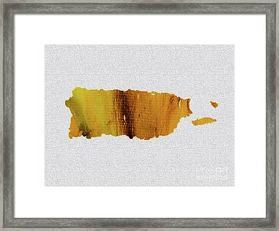 Colorful Art Puerto Rico Map Yellow Brown Framed Print by Saribelle Rodriguez