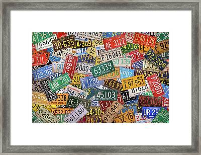 Colorful Assorted Vintage License Plates From All 50 States Framed Print