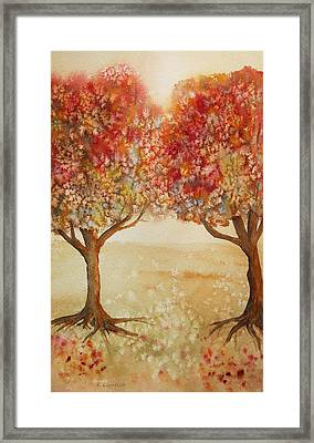 Colorful Autumn Twin Trees Framed Print by Kerri Ligatich