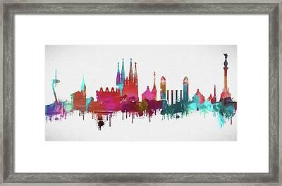 Colorful Barcelona Skyline Silhouette Framed Print