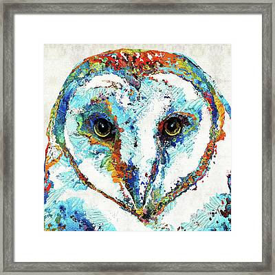 Colorful Barn Owl Art - Sharon Cummings Framed Print