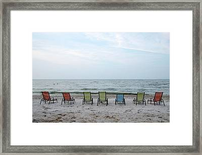 Framed Print featuring the photograph Colorful Beach Chairs by Ann Bridges