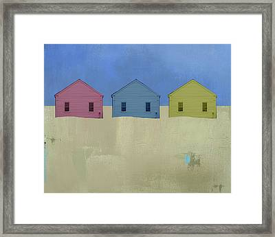 Colorful Beach Cottage Framed Print