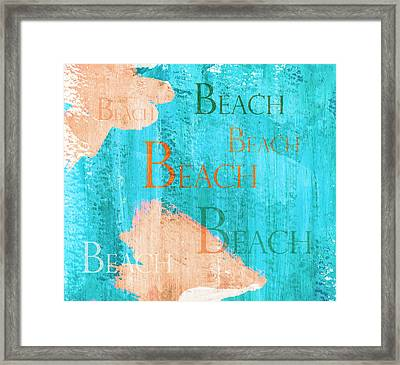 Colorful Beach Sign Framed Print