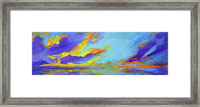 Colorful Beach Sunset Oil Painting  Framed Print by Patricia Awapara