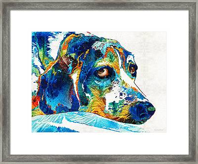 Colorful Beagle Dog Art By Sharon Cummings Framed Print
