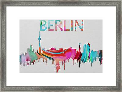 Colorful Berlin Skyline Silhouette Framed Print