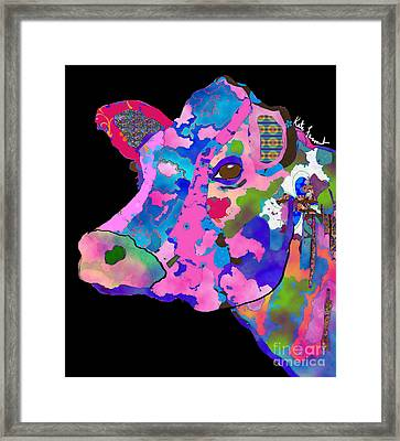 Colorful Bessie The Cow  Framed Print by Kate Farrant