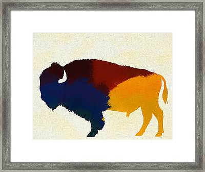 Colorful Bison Framed Print by Dan Sproul