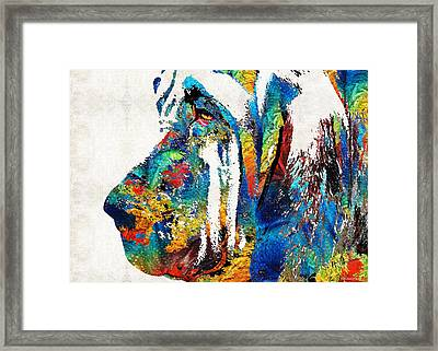 Colorful Bloodhound Dog Art By Sharon Cummings Framed Print by Sharon Cummings